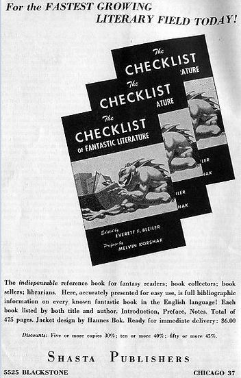 Antiquarian Bookman, June 26, 1948. p. 1111 Shasta ad