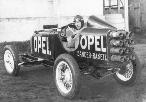 Opel rocket car RAK 1, April 11, 1928, driven by Kurt Volkhart
