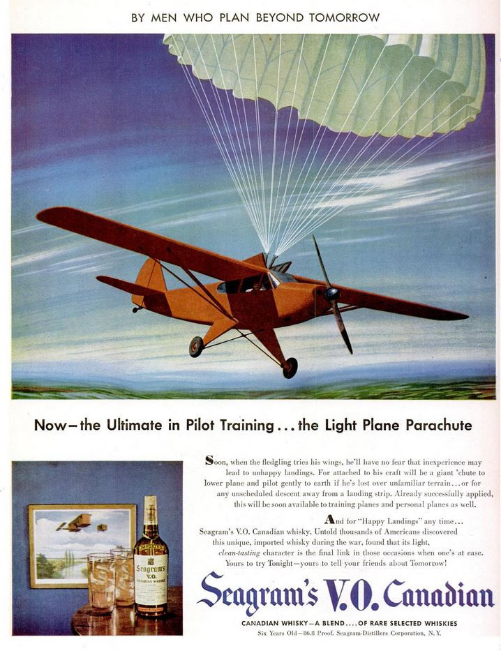 1947-01-20 Light plane parachute