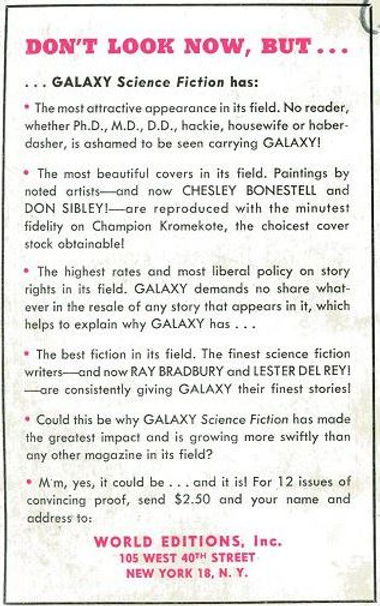 Arthur C. Clarke, Prelude to Space, Galaxy Novel #3 rear cover