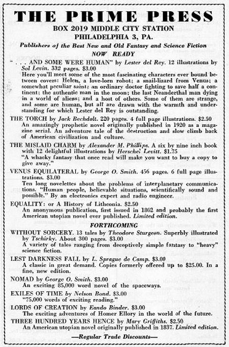 Antiquarian Bookman, June 26, 1948, p. 1125 Prime Press ad