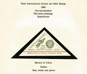 1936 Mexico to U.S. 50 cent rocket mail vignette