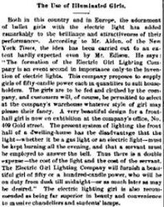 """The Use of Illuminated Girls."" Electrical World, May 10, 1884, p151"