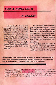 Galaxy Science Fiction, first issue, October 1950, rear cover