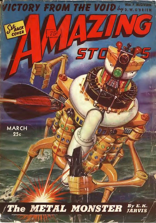 Amazing Stories, March 1943 robot cover.