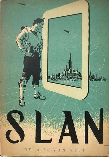Slan by A. E. van Vogt, Arkham House, Robert E. Hubbell cover art
