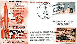 30th Anniversary of first rocket mail, 1966