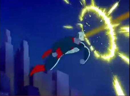 Superman punching death ray, from Superman cartoon, 1941.