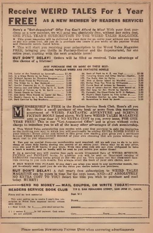1949-11 Weird Tales, Reader's Service Book Club ad
