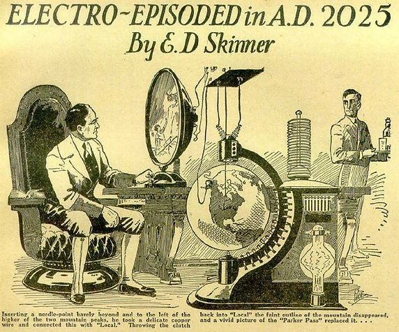 "E. D. Skinner, ""Electro-Exploded in A.D. 2025,"" illustration from Amazing Stories, Aug. 1928"