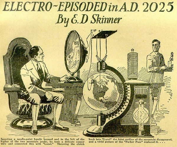 """E. D. Skinner, """"Electro-Exploded in A.D. 2025,"""" illustration from Amazing Stories, Aug. 1928"""