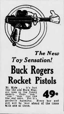 Buck Rogers rocket pistol Washington Herald, Oct. 5, 1934