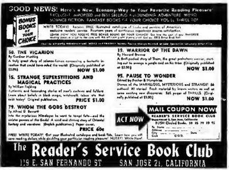 1948-07 Astounding, Reader's Service Book Club ad