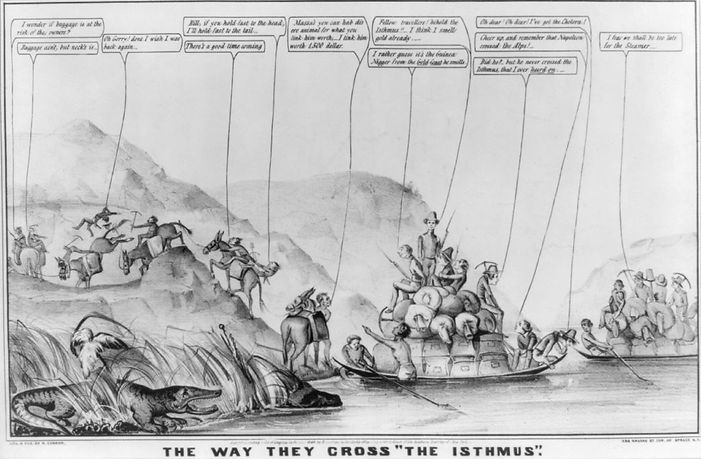 "Nathaniel Currier, print, The Way They Cross ""The Isthmus,"" 1849"