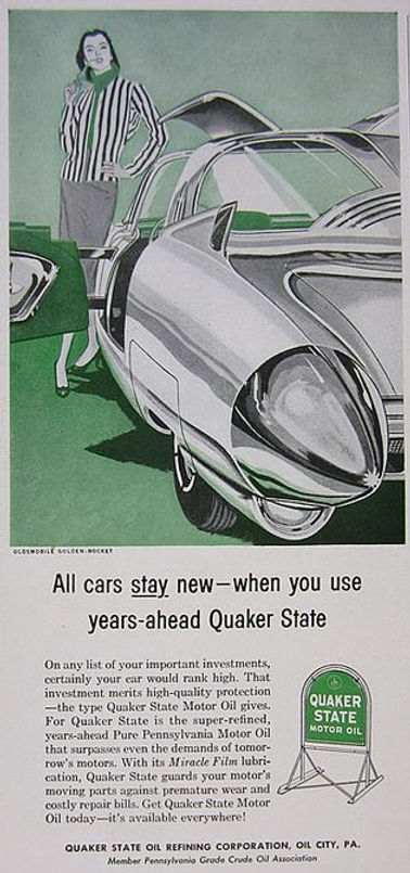 1956 Quaker State Motor Oil Oldsmobile Golden Rocket