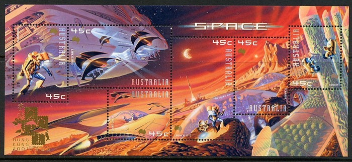 Hong Kong reissue of Australian sheet of space stamps 200