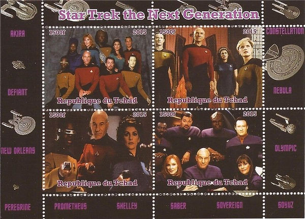 Chad (République du Tchad) 1500 franc Star Trek the Next Generation sheet, 2015