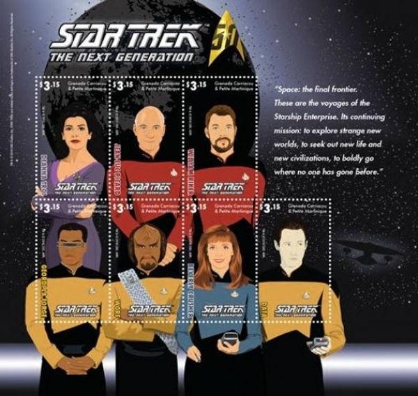 Grenada Carriacou and Petite Martinique $3.15 Eastern Caribbean Dollars Star Trek The Next Generation sheet, 2016