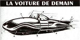 Science Fiction Magazine, France, 1951, conceptual drawing of Car of Tomorrow