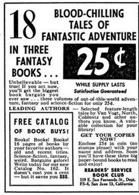 1953-08 F&SF, Reader's Service Book Club ad