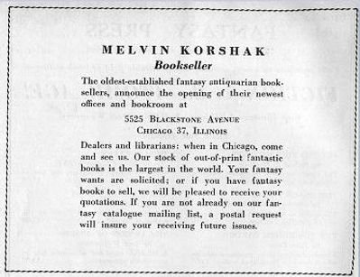 Antiquarian Bookman, June 26, 1948, p. 1122 Korshak ad