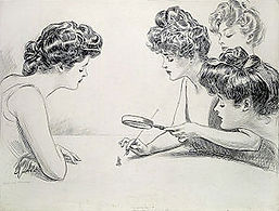 Girls with Magnifying Glass, by Charles Dana Gibson