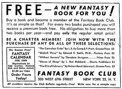 1949-02 Astounding Fantasy Book Club ad