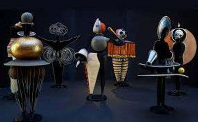 Display of costumes from The Triadic Ballet