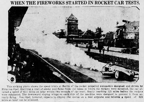 Wirephoto of RAK 2 test, appearing in June 5, 1928 Franklin [PA] News-Herald