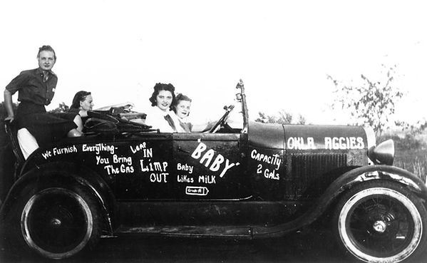 vintage jalopy with slogans