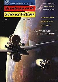 F&SF, February 1957, cover by Chesley Bonestall