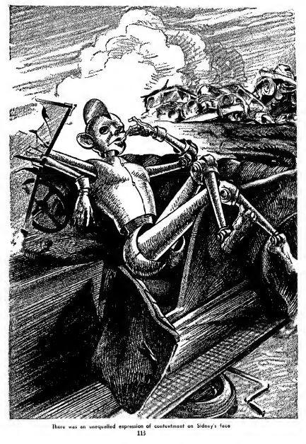 Sidney, the Screwloose Robot, illustration by Julian S. Krupa (Fantastic Adventures, June 1941)