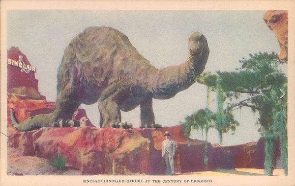 Sinclair Oil Dinosaur exhibit color postcard