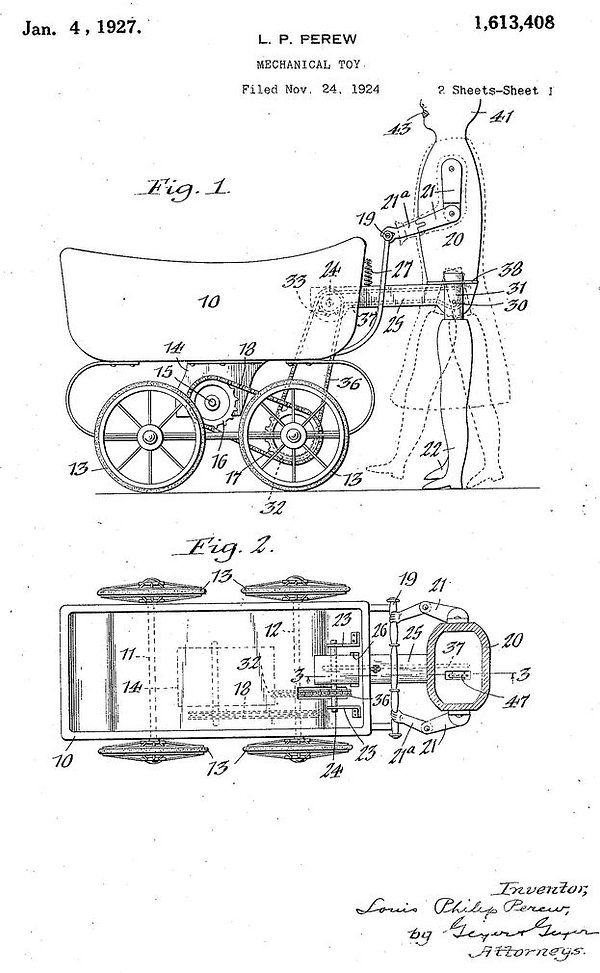 Louis Perew mechanical toy patent, January 4, 1927