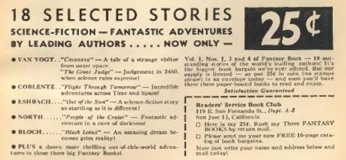 1953-08 Astounding, Reader's Service Book Club ad