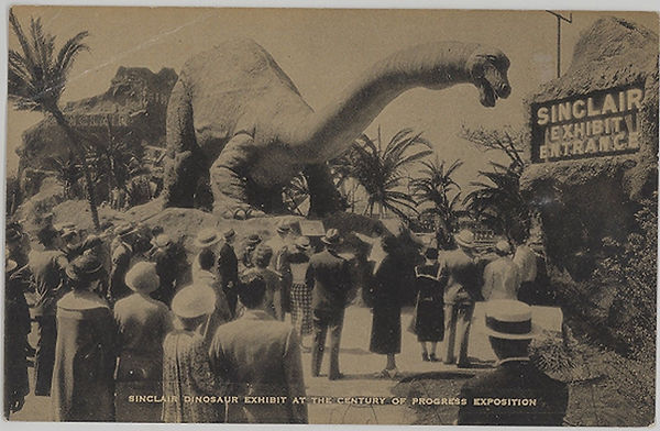 Sinclair Oil Dinosaur exhibit postcard.j