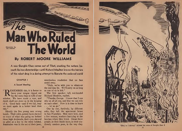 "Amazing Stories October 1938 ""The Man Who Ruled the World,"" by Robert Moore Williams"