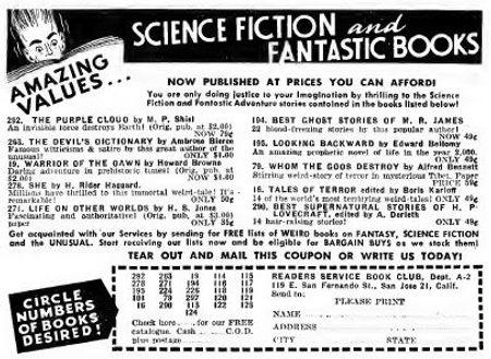 1950-03 Astounding, Reader's Service Book Club ad