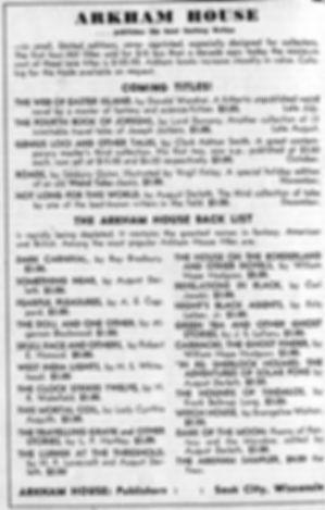Antiquarian Bookman, June 26, 1948, p. 1115 Arkham House ad
