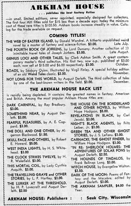 Antiquarian Bookman, June 26, 1948, p. 1115 Arkham House ad