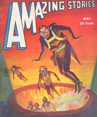 Amazing Stories, May 1931, detail of cover art by Leo Morey
