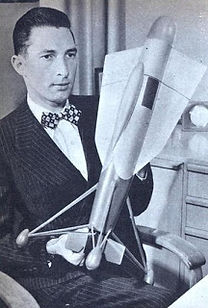 Stanely Hiller, with rocket, 1950