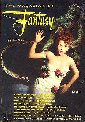 F&SF, first issue, Fall 1949, cover by Bill Stone