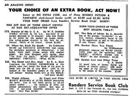 1949-07 Astounding, Reader's Service Book Club ad