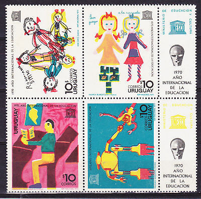 Uruguay 10 correos stamp honoring UN Internaton Year of Eduation 1970
