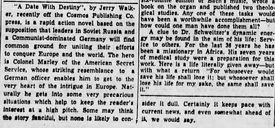 1949-07-25 Burlington Free Press, p.  6 review of Jerry Walker's A Date with Destiny