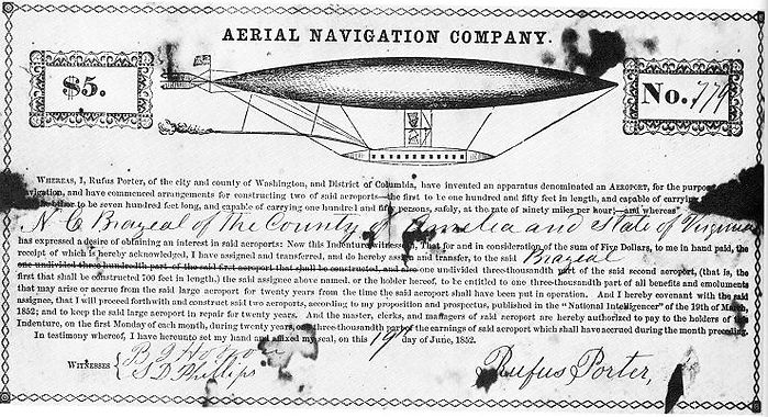 Aerial Navigation Company stock certificate, 1852