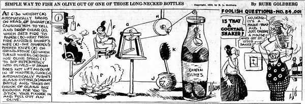 Rube Goldberg How to Get an Olive Out of a Long-Necked Bottle, Washington Times April 20, 1922