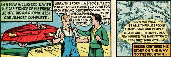 Edison Bell panel from Blue Bolt #3, August 1940