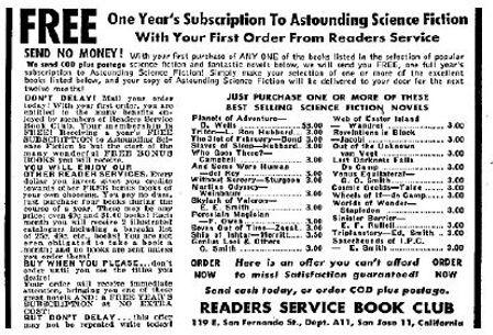 1949-11 Astounding, Reader's Service Book Club ad